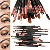Eleacc 20tlg Make UP Pinsel Pinselset Schminkpinsel Kosmetikpinsel Kosmetik Brush Schwarz-Roasgelb