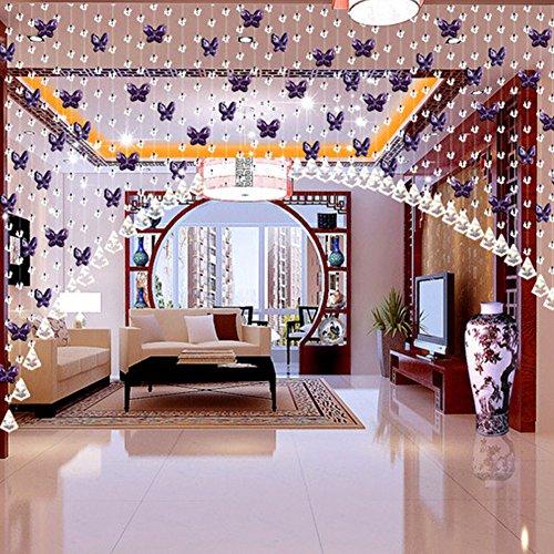 61kBTkkraQL - FAVOLOOK Cortina de cuentas de cristal con mariposas, cadena de araña, rollo de cuerda de cuentas para bricolaje, decoración de Navidad o boda, Morado claro, Tamaño libre