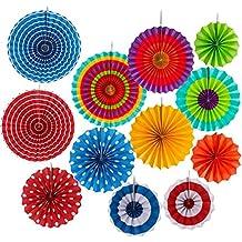 12 Abanicos de Papel Multicolor Decoración para Celebración Ventilador de Papel Fiesta Cumpleaños Boda Distintos Colores Lunares