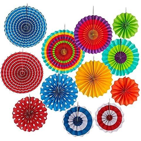 12pcs Eventails Rond Pliable Suspendu multicolore en Papier pour Décoration Anniversaire Mariage Fête Soirée Noël