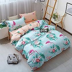 Flamingo Bettbezug Set,Morbuy 3pcs Einfache Bettwäsche Set 135 x 200 cm 100% Polyester Mikrofaser Gemütlich Printing Bettbezug Set (Hell blau)