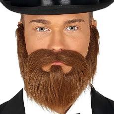 Amakando Falscher Gentleman Bart mit Gummiband / Braun mit Gummiband / Unechter Vollbart mit Oberlippenbart Herzog / Perfekt geeignet zu Fasching & Karneval