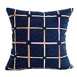 U.Expectating 45 * 45 cm Bunte Karierte Kissen Sofa Taille Kissenbezug Dekoration Kissenbezug (Blau)