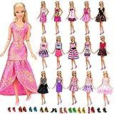 Miunana 22 Stück = 12 Kleider Kleidung Partymode Prinzessinnen Fashionistas mit 10 Paar Schuhe für Barbie Puppen