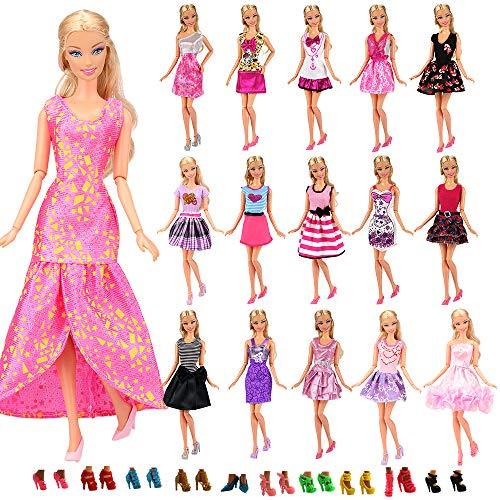 Miunana 22 Stück = 12 Kleider Kleidung Partymode Prinzessinnen Fashionistas mit 10 Paar Schuhe für Barbie Puppen (Puppe Prinzessin Kleidung)