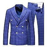 MOGU Herren Zweireiher Blazer Stilvolle 3-teilige Anzug Plaid Formelle Hochzeit Business-Kleid DE 50