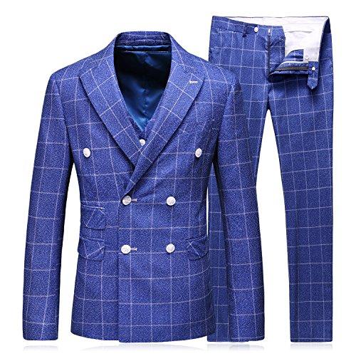 MOGU Herren Zweireiher Blazer Stilvolle 3-teilige Anzug Plaid Formelle Hochzeit Business-Kleid DE 46