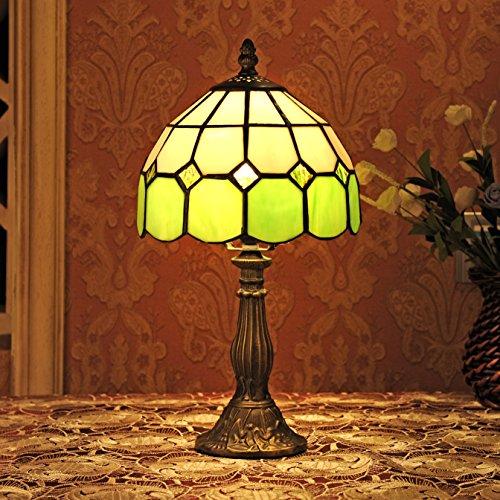 Gweat 8-Inch Mittelmeer Tiffany Stil Bernstein Tischlampe Nachttischlampe (4 Farben für wählen)