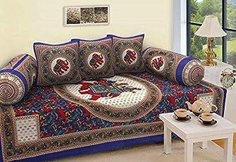 STOP N SHOP Cotton Jaipuri Diwan Set (Multicolour, Standard)