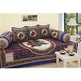 STOP N SHOPP Design Pure Cotton Jaipuri Diwan Set, Standard (Multicolour,SNSJPD06)