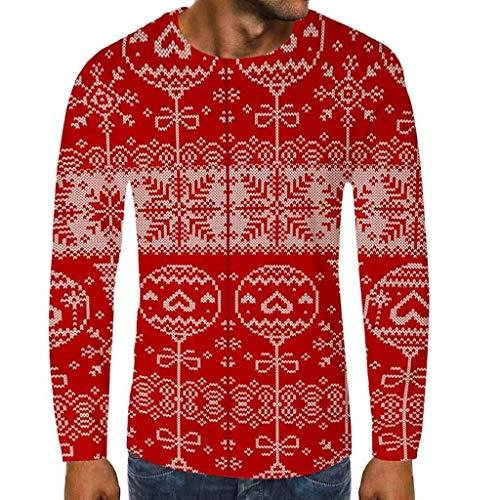 Lilicat unisex natale maglione tumblr uomo manica lunga autunno inverno maglia natalizio pullover funny 3d stampato tops sportiva girocollo pupazzo di neve tops(b rosso,l)