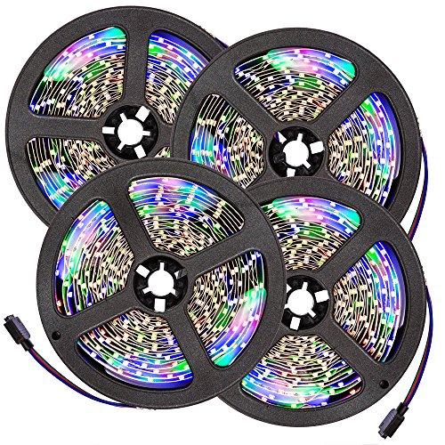 TecTake 5m RGB SMD 3528 LED Stripe Lichterkette Mehrfarbig inkl. Fernbedienung & Netzteil - Diverse Mengen - (4 Stück | Nr. 401565)