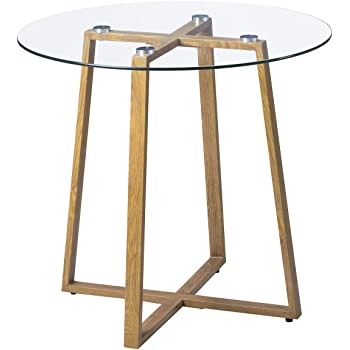 b12b4132eef0 H.J WeDoo Dining Table Round Clear Glass Table Modern Style Table for Kitchen  Dining Room Coffee Table with Metal Legs Wooden Grain Finish