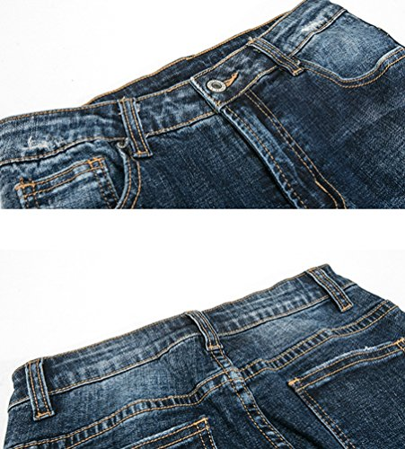 CHENGYANG Donna Jeans a Vita Alta Slim Fit Flare Pantaloni Moda Split Hem Denim Jeans Scuro Blu