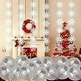 Howaf Fiocchi di Neve di Natale Decorazione da Appendere Ghirlanda e Palloncini in Latticei per Inverno, Frozen, Natale casa, Party, Compleanni, Matrimoni,Cerimonia Addobbi e Decorazione