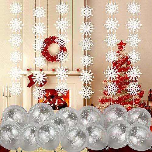 Howaf Weihnachtendeko hängend Winter Girlande Schneeflocke deko (5 Fuß, 6 Packung) und12 Schneeflocke Luftballons Latexballons für Neujahr Weihnachten Party Dekoration Schneehänger