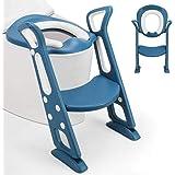 Fascol Asiento Aseo Escalera para Niños de 1a 8 Años, Ajustable con Pasos, Asiento de Inodoro de WC Antideslizante, con Cojín
