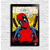 Deadpool Marvel Comics - Pintura enmarcado original, imagen, impresión, cartel, póster, impresion en lienzo, cuadro, cómic, cartel de la película