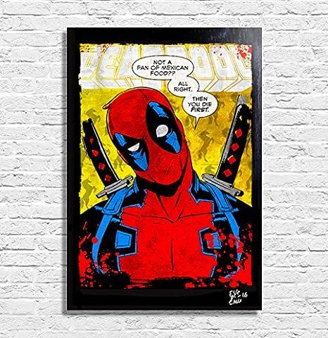 Deadpool Marvel Comics - Illustration originale encadrée, peinture, presse artistique, poster, toile imprimée, art contemporain, image sur toile, affiche d'art, bandes dessinées