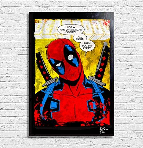 Deadpool Marvel - Quadro originale con cornice, dipinto, stampa, poster, stampa su tela.