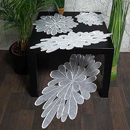 Tischdecke Tischläufer Deckchen weiss Motiv Blüte rund und oval leicht organza (20 x 60 cm oval)