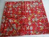 Sophia Art 100% Handgefertigt Indian Kantha Quilt Decke Tröster–Blumen Bunte Bird of Paradise Bedruckte Steppdecke, Bohemian, mediterraner Vintage Betten Kantha Quilt