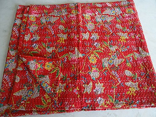 Blumen-bett-decke (Sophia Art 100% Handgefertigt Indian Kantha Quilt Decke Tröster-Blumen Bunte Bird of Paradise Bedruckte Steppdecke, Bohemian, mediterraner Vintage Betten Kantha Quilt)