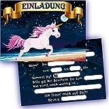 German Trendseller - 6 x Einladungskarten - Einhorn - ┃ Kindergeburtstag ┃ Mitgebsel ┃ 6 Einladungen