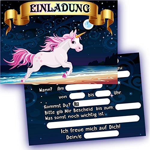 German-Trendseller-6-x-Einladungskarten-Einhorn--Kindergeburtstag--Mitgebsel--6-Einladungen