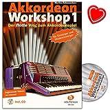Akkordeon Workshop Band 1 mit CD - Akkordeonschule von Martina Schumeckers (mit bekannten Melodien Akkordeon zu lernen) - Lehrmaterial mit bunter herzförmiger Notenklammer