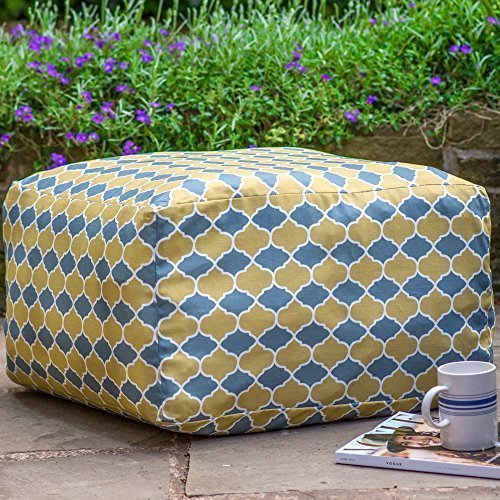 "Designer Wasserdicht marokkanischen Garten Outdoor rectangluar Pouf-Grau & Senf Badi (begriffsklärung), ""Marrakech"" Kollektion-Entworfen, bedruckt & Handarbeit in der UK"