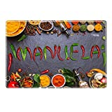 Tischset mit Namen ''Manuela'' Motiv Chili - Tischunterlage, Platzset, Platzdeckchen, Platzunterlage, Namenstischset