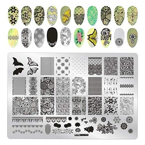 Maniküre-Werkzeuge 9.5 * 14,5 Cm Blätter Blume Muster Maniküre Vorlage Bild Malerei Maniküre Vorlage Maniküre Werkzeuge 038