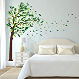 decalmile Pegatinas de Pared Arbol Gigante Verde Vinilos Decorativos Hojas Infantil Salón Dormitorio Decorativos Adhesivos (X