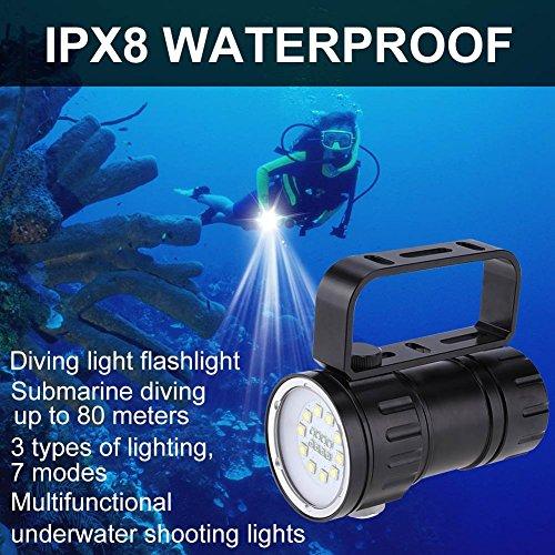 Submarino Lámpara de Táctica Linterna LED Alta Potencia12000 Lúmenes Linterna LED de Mano Resistente al Agua Linternas Antorcha LED Linterna Sumergible 80 m Impermeable Linterna Táctica