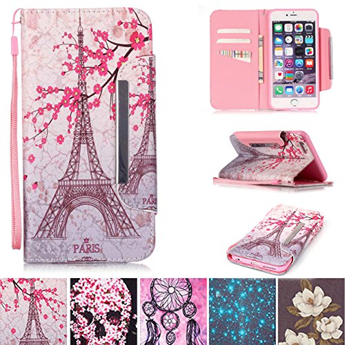 Apple Iphone 5 Shell (iPhone 5/5S Fall, iPhone SE Fall, [Slots] [Standfuß] Flip Folio Brieftasche Fall Kunstleder Shell kratzfest Schutzhülle für Apple iPhone 5/5S SE Apple iPhone 5/5S/SE Turm)