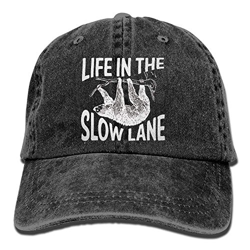 Aoliaoyudonggha Life In The Slow Lane Sloth Lovers Unisex Cotton Washed Denim Visor Cap Adjustable Natural -