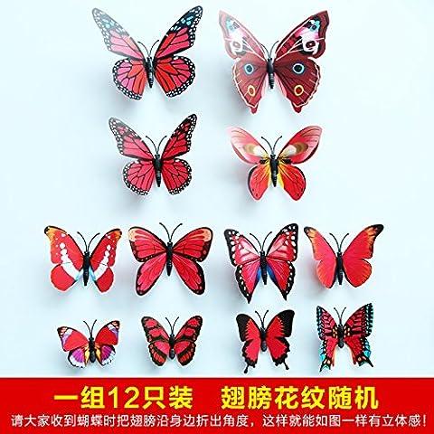 Simulazione di 3D Butterfly parete finestra adesivo decorare un salotto TV vetro sfondo magneti da frigorifero può essere rimosso,l'corlor di