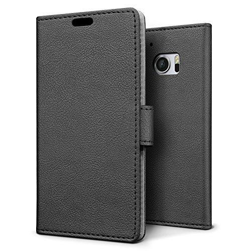 SLEO LG K10 Hülle - Premium Luxuriös PU lederhülle [Vollständigen Schutz] [Kreditkartenfach] Flip Brieftasche Schutzhülle im Bookstyle für LG K10 - Schwarz