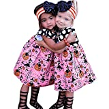 OverDose Damen Kleinkind Kinder Baby Mädchen Halloween Kürbis Cartoon Prinzessin Cosplay Home Party Kleid Outfits Kleidung Tanz Rave Kleid