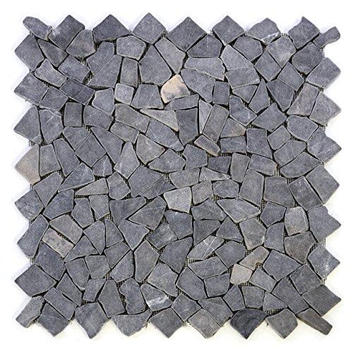 Getrommelt Marmor Mosaik 1x1 (DIVERO 4 Großformat-Matten 53 x 53cm Marmor Naturstein-Mosaik Fliesen für Wand Boden Bruchstein grau)