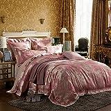 Man · life Europäischen Stil Baumwolle Satin Jacquard Bettwäsche Set Schlafzimmer Luxus Königin Größe Duvet Set 4 Stücke 1 Bettbezug, 1 Bettwäsche, 2 Kissenbezüge, A, 220X240Cm
