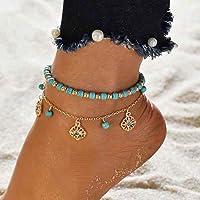 Ushiny Boho turchese cavigliera oro perline braccialetto alla caviglia di cristallo estate spiaggia strass catena piede…