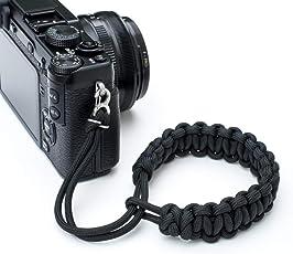 Techlife Black Color Braided Paracord Camera Adjustable Wrist Strap/Wristband