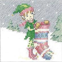 Heritage Crafts–Kit de punto de cruz, diseño de tarjeta de Navidad elfo calcetín