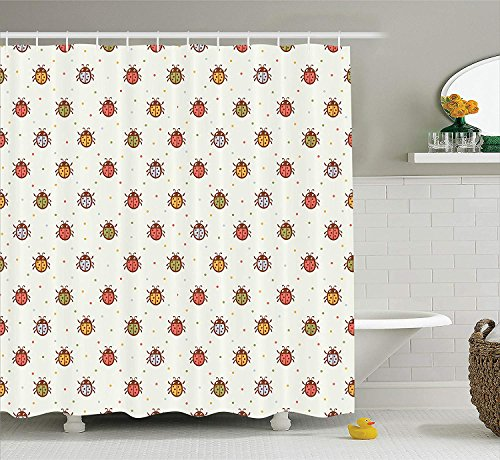 MLNHY Ladybugs Decorations Shower Curtain Set, Pastel Color Vintage Stylized Faded Bugs Setting Nostalgic Good Luck Childhood Theme, Bathroom Accessories, Ecru Chocolate,Size:66W X 72L Inche 66 Chocolate Mold