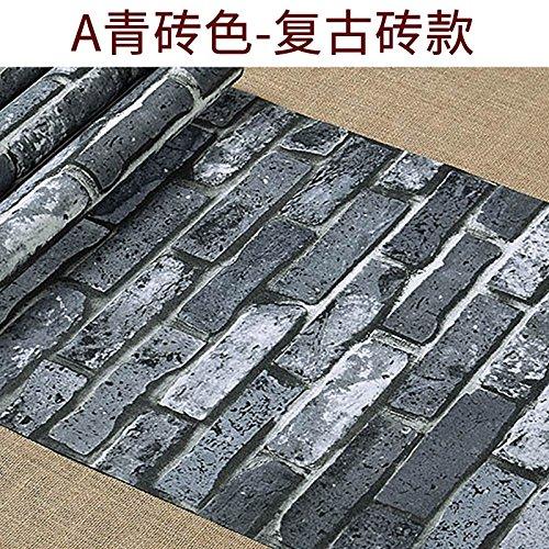 Tkopainsde Die Koreanische Tapete Retro Mittelmeer 3D-Modellierung Brick Hintergrundbild Düsteren Grau Ziegelstein-Tapeten, Farbe Grau - Retro Ziegel) (Dunkel Geprägt) (Ziegel Wallpaper Geprägte)