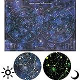 Poster Leuchtende Planisphäre - 68 cm x 48 cm - leuchtet im Dunkeln - Glow in the dark - Sterne und Galaxie von der leuchtenden Sternenkarte - Melquiades Original