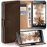 moex HTC One M8 | Hülle Dunkel-Braun mit Karten-Fach 360° Book Klapp-Hülle Handytasche Kunst-Leder Handyhülle für HTC One M8/M8s Case Flip Cover Schutzhülle Tasche