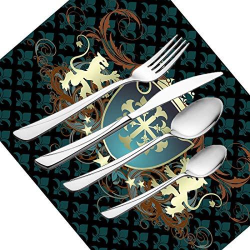 30-teiliges Besteckset, mittelalterliches Geschirr Besteckset aus Edelstahl für 6 Personen, einschließlich Messer, Gabeln, Löffel, Teelöffel und Tischset, heraldisches Design aus dem Mittelalter